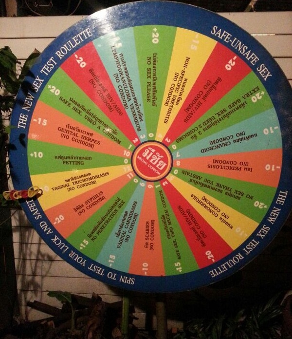 A wheel fitting the safe-sex restaurant theme