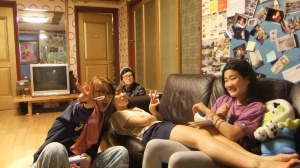 We spent a lot of time in this living room, this is when we first became friends with one of the hostel staff, Jun