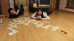 Playing scrabble with Jun