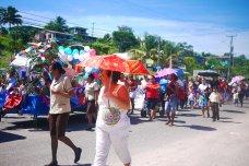 Independence day school parades in San Ignacio