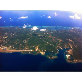 View of Roatan Island from the plane